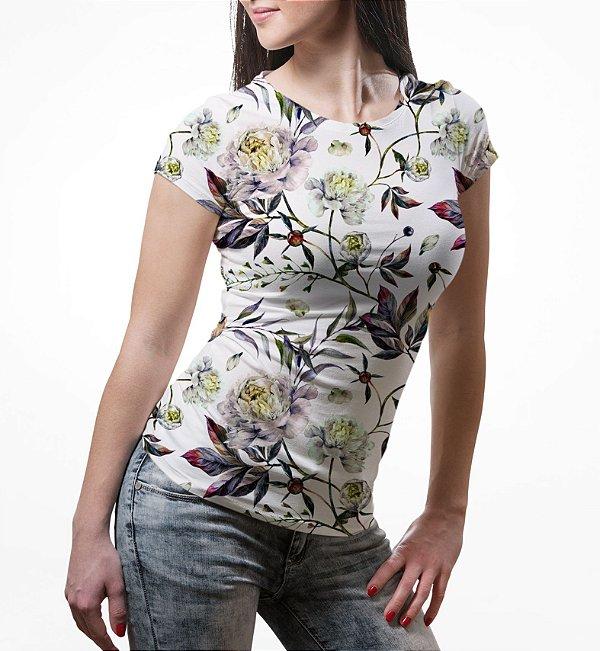 Camiseta Baby Look Feminina Floral Aquarela Estampa Total