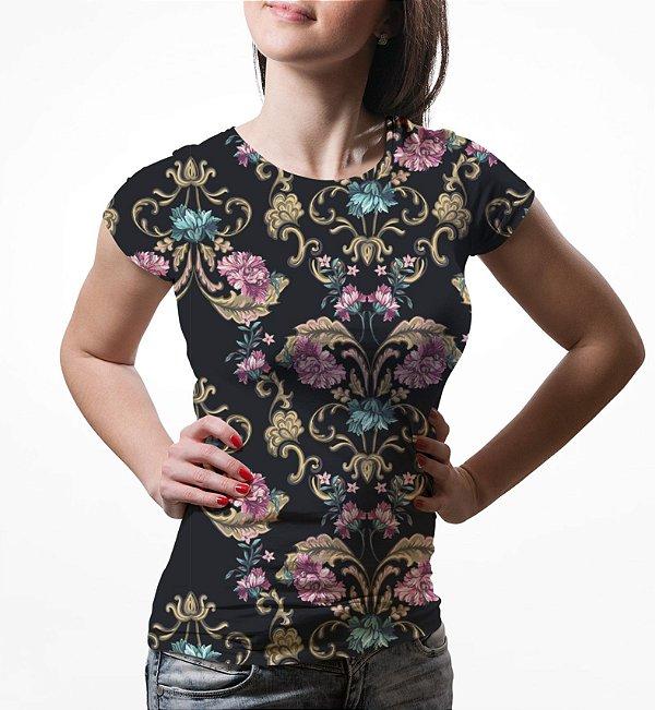 Camiseta Baby Look Feminina Floral Barroco Estampa Total