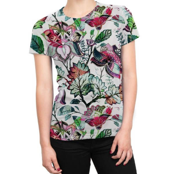 Camiseta Baby Look Feminina Floral Jardim Russo Estampa Total