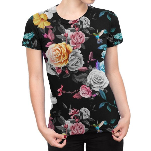 Camiseta Baby Look Feminina Floral Jardim e Beija-flor Estampa Total
