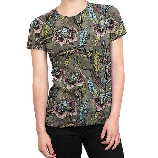 Camiseta Baby Look Feminina Flores e Folhas Estampa Total