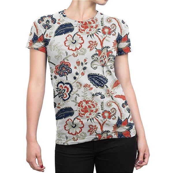 Camiseta Baby Look Feminina Floral Ilustração Curl Estampa Total