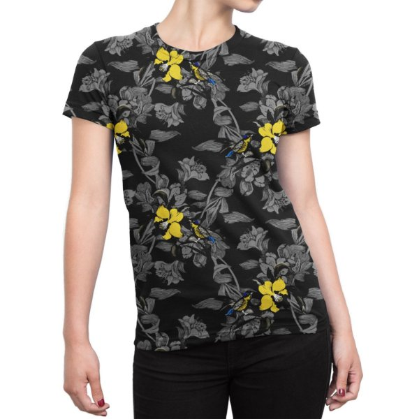 Camiseta Baby Look Feminina Jardim com Pássaros Estampa Total