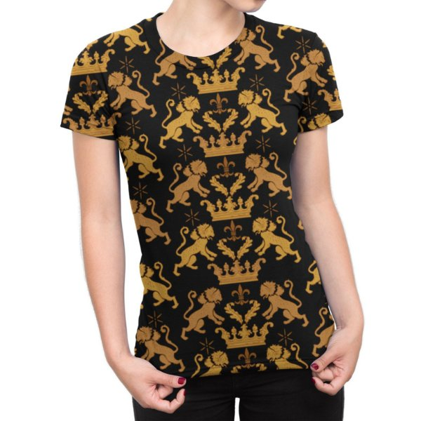 Camiseta Baby Look Feminina Leão Real Estampa Total