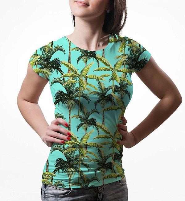 Camiseta Baby Look Feminina Palmeira Tropical Estampa Total