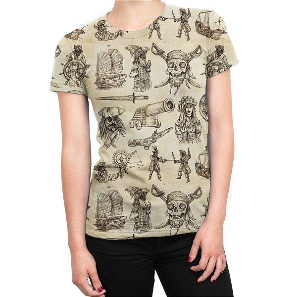 Camiseta Baby Look Feminina Piratas Estampa Total