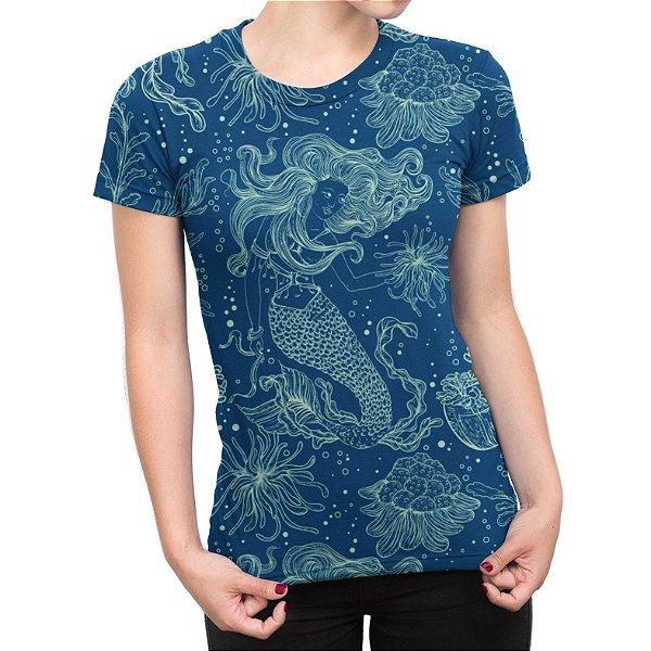 Camiseta Baby Look Feminina Sereia e Plantas Marinhas Estampa Total