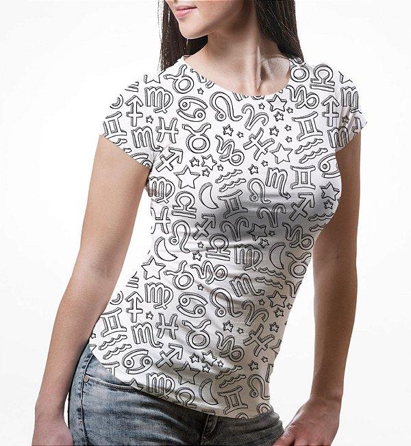 Camiseta Baby Look Feminina Signos do Zodíaco Estampa Total