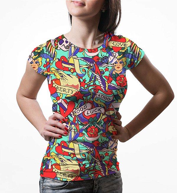 Camiseta Baby Look Feminina Tatuagens Clássicas Estampa Total