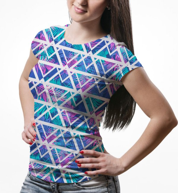 Camiseta Baby Look Feminina Tecno Geométrico Estampa Total