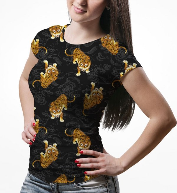 Camiseta Baby Look Feminina Tigre Japonês Estampa Total