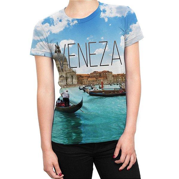 Camiseta Baby Look Feminina Veneza Estampa Total
