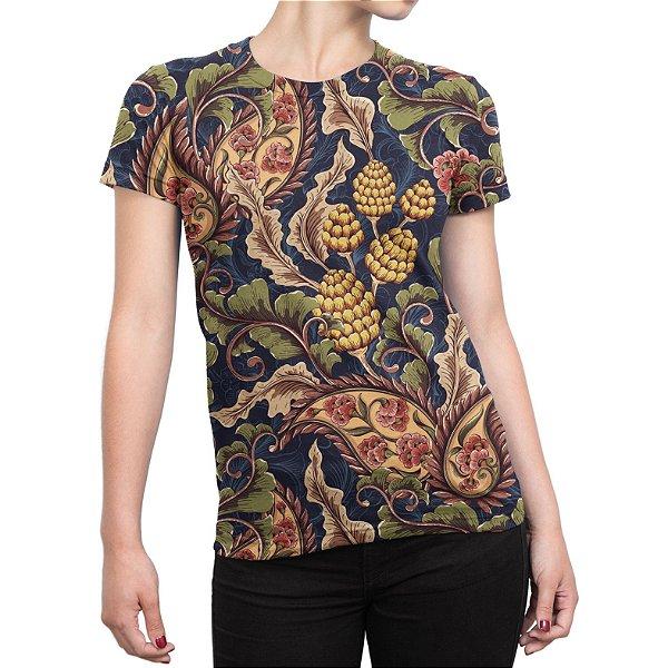 Camiseta Baby Look Feminina Vintage Floral Estampa Total
