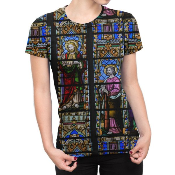 Camiseta Baby Look Feminina Vitral Igreja Estampa Total