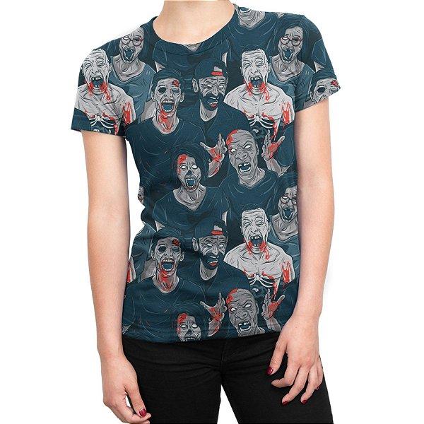 Camiseta Baby Look Feminina Zumbis Estampa Total