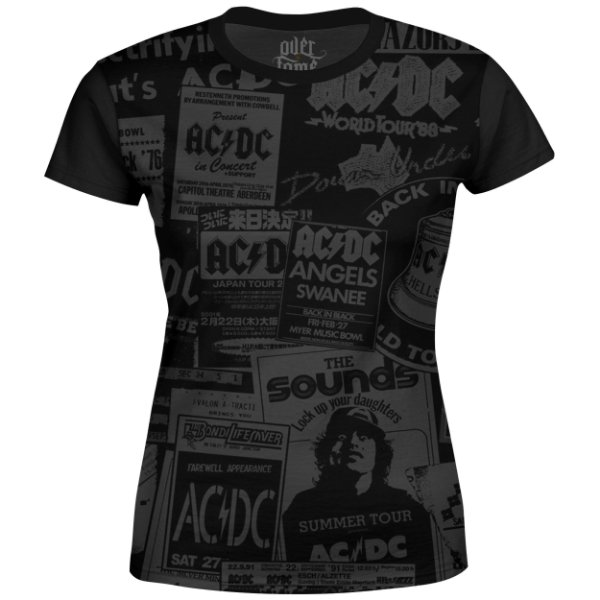 Camiseta Baby Look Feminina AC/DC Estampa Digital AC DC md01