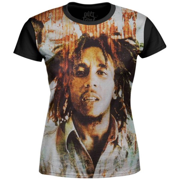Camiseta Baby Look Feminina Bob Marley Estampa Digital md02
