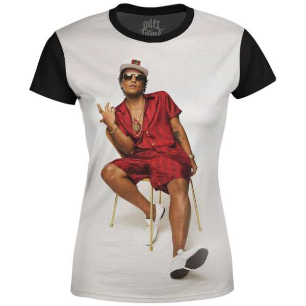 Camiseta Baby Look Feminina Bruno Mars Estampa Digital md01