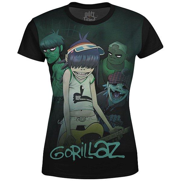 Camiseta Baby Look Feminina Gorillaz Estampa digital md01