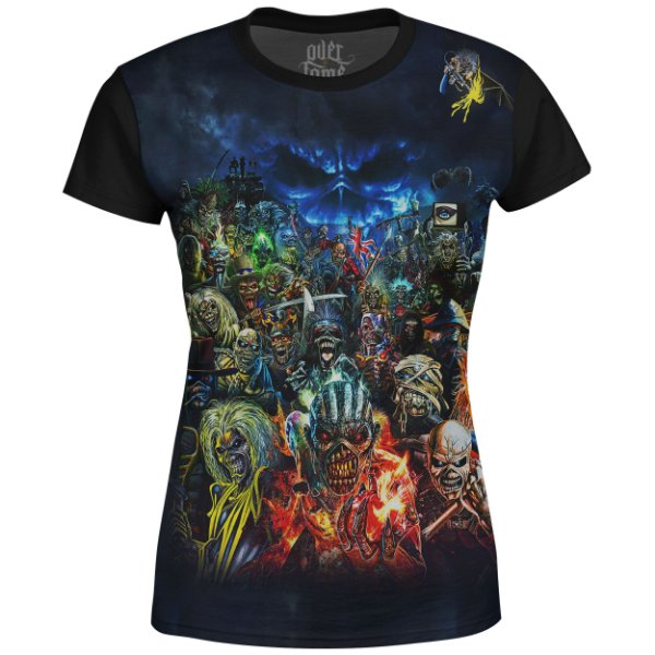Camiseta Baby Look Feminina Iron Maiden Estampa digital md01