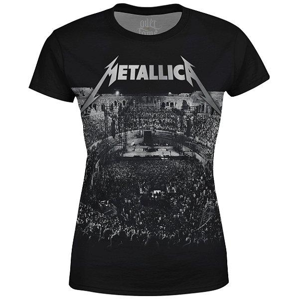 Camiseta Baby Look Feminina Metallica Estampa digital md04