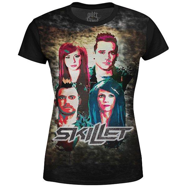Camiseta Baby Look Feminina Skillet Estampa digital md03