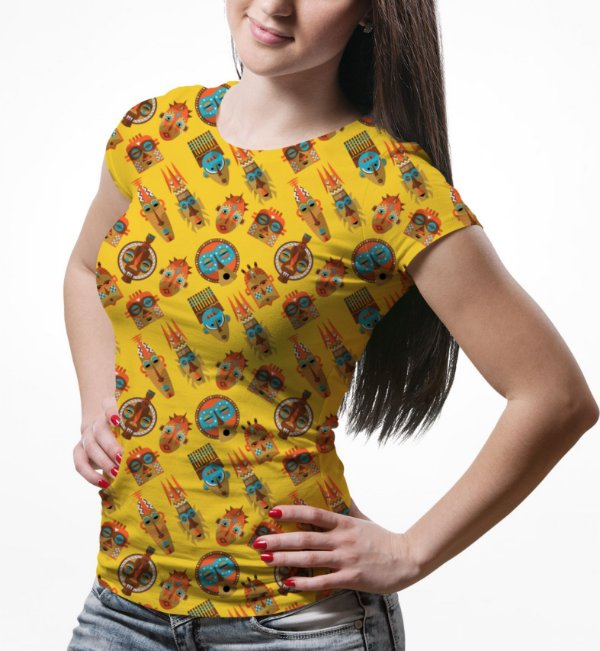Camiseta Baby Look Feminina Tribos Africanas Estampa Total - OUTLET