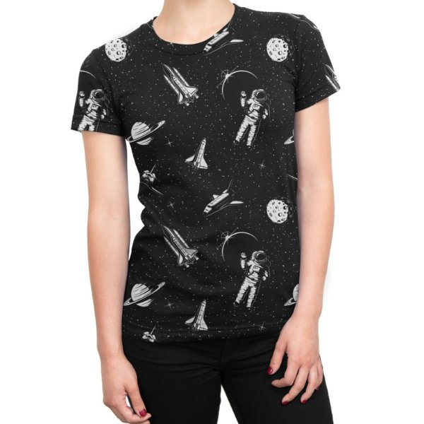 Camiseta Baby Look Feminina Espacial Astronauta Estampa Total- OUTLET