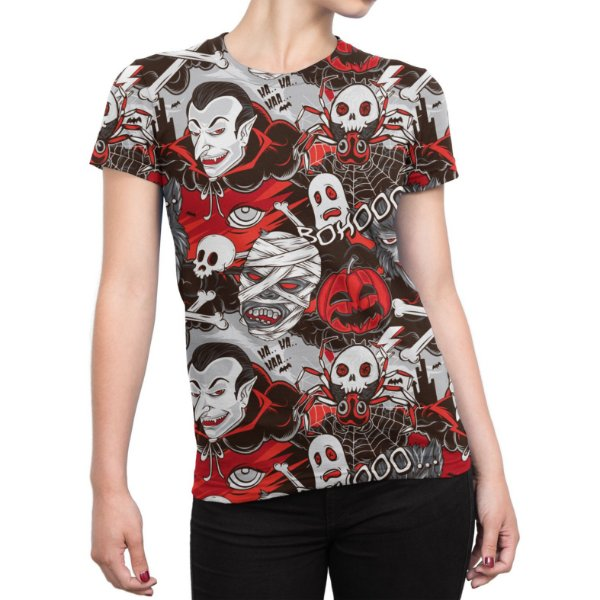 Camiseta Baby Look Feminina Monstros do Horror Estampa Total - OUTLET