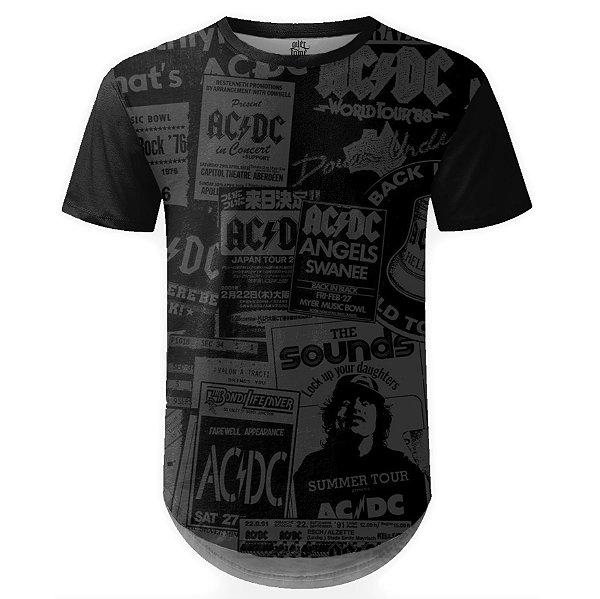 Camiseta Masculina Longline AC/DC Estampa Digital md01