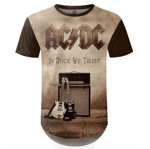 Camiseta Masculina Longline AC/DC Estampa Digital md04