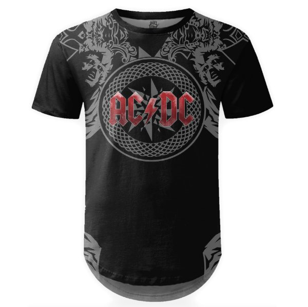 Camiseta Masculina Longline AC/DC Estampa Digital md06