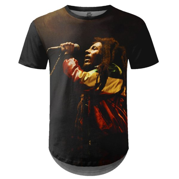 Camiseta Masculina Longline Bob Marley Estampa Digital md01