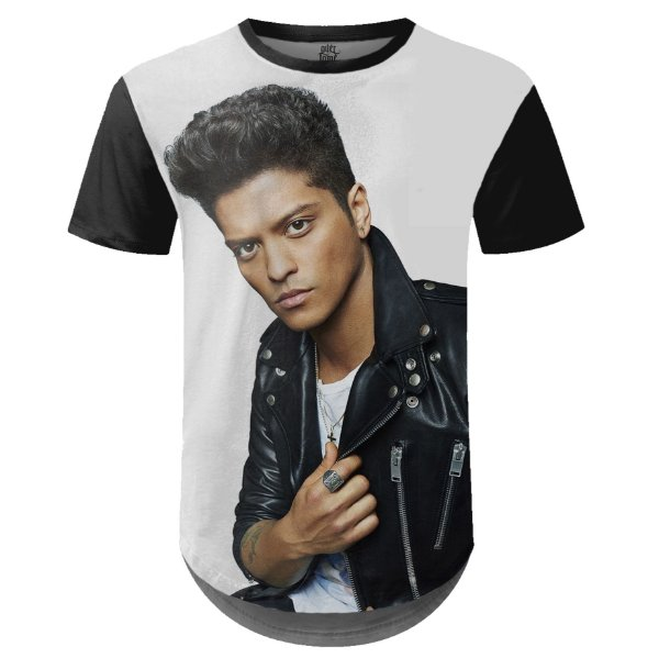 Camiseta Masculina Longline Bruno Mars Estampa Digital md02