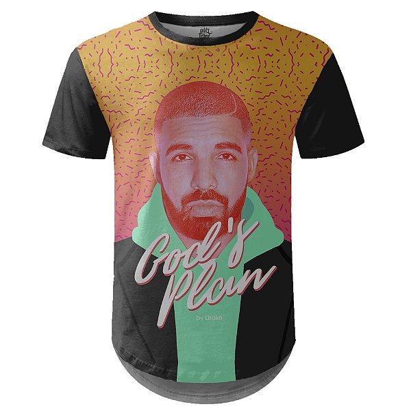 Camiseta Masculina Longline Drake Estampa digital md06