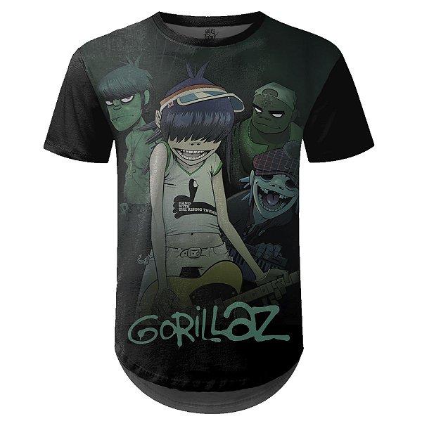 Camiseta Masculina Longline Gorillaz Estampa digital md01
