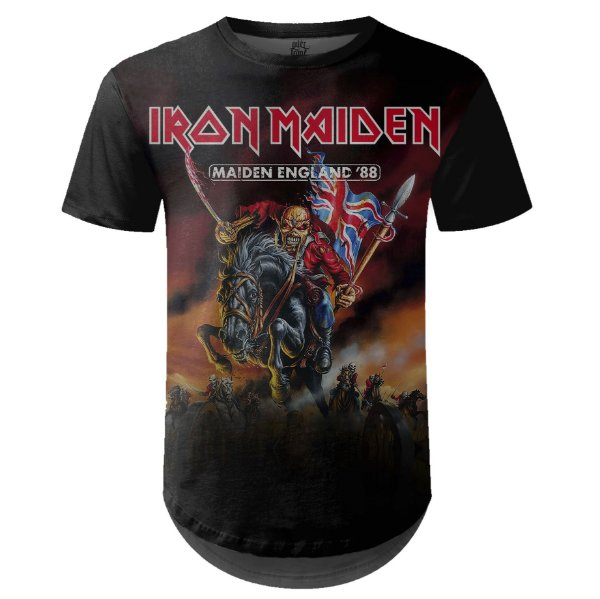Camiseta Masculina Longline Iron Maiden Estampa digital md02