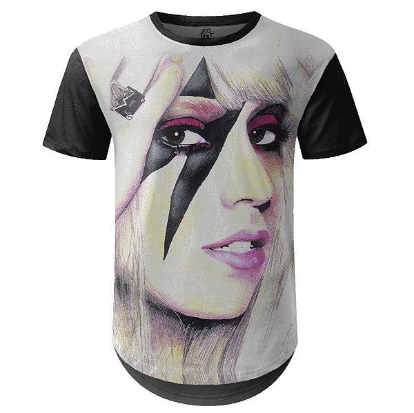 Camiseta Masculina Longline Lady Gaga Estampa digital md01