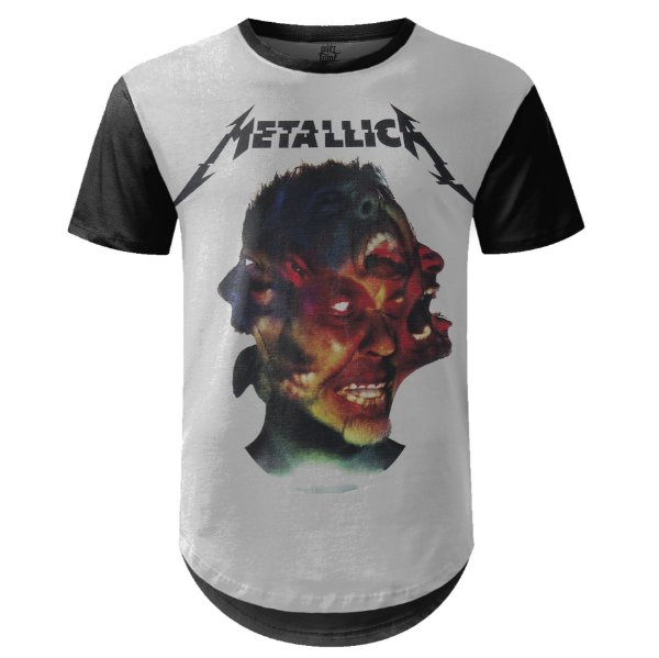 Camiseta Masculina Longline Metallica Estampa digital md03