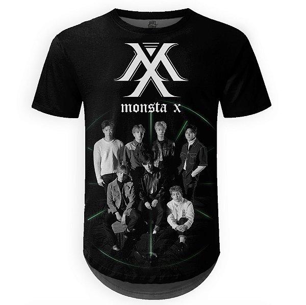 Camiseta Masculina Longline Monsta X Estampa digital md01