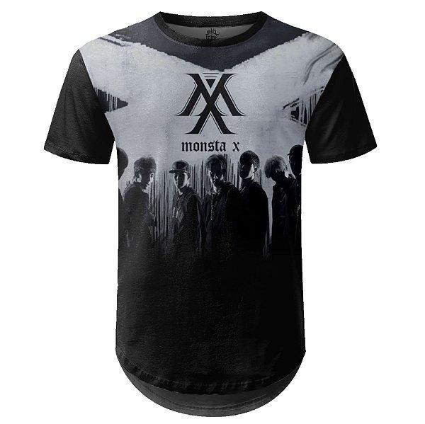 Camiseta Masculina Longline Monsta X Estampa digital md03
