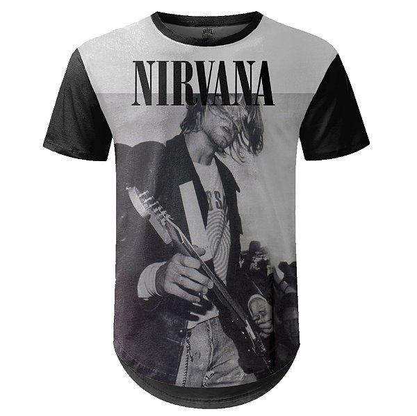Camiseta Masculina Longline Nirvana Estampa digital md04