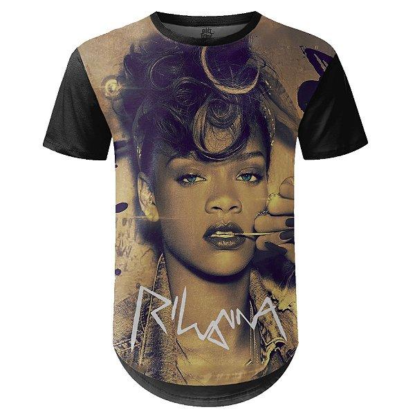 Camiseta Masculina Longline Rihanna Estampa digital md02