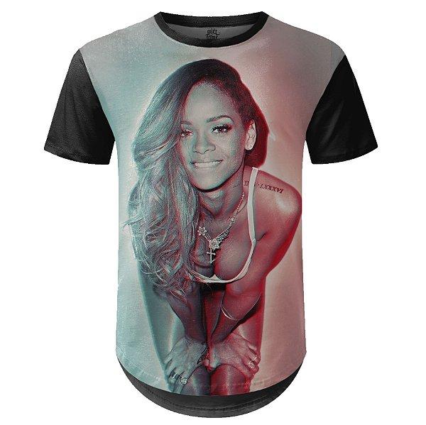 Camiseta Masculina Longline Rihanna Estampa digital md04