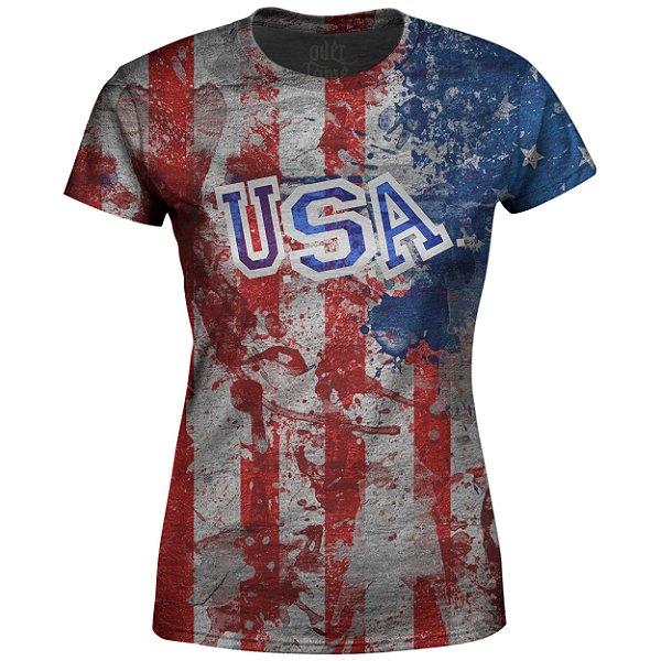 Camiseta Baby Look Feminina Estados Unidos EUA Md02