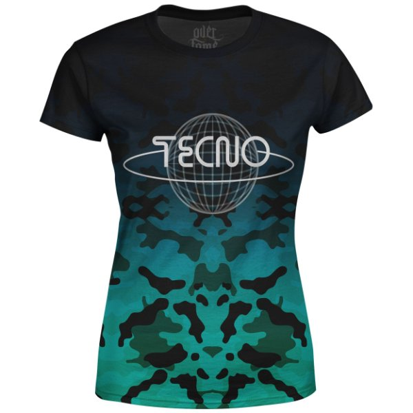 Camiseta Baby Look Feminina Camuflada Tecno Md05