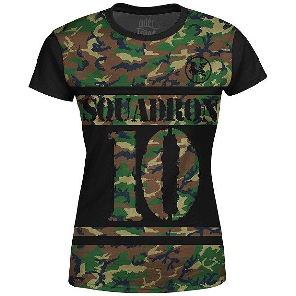 Camiseta Baby Look Feminina Camuflada Squadron Md01