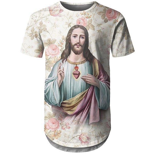 Camiseta Masculina Longline Jesus Cristo Floral Md03