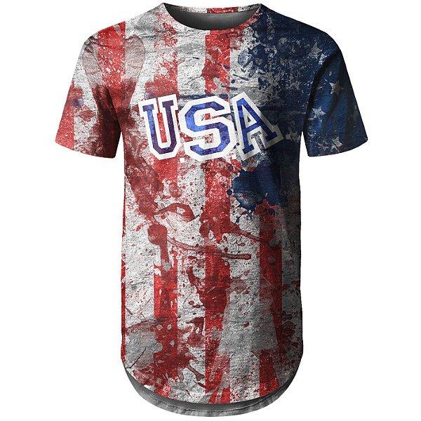 Camiseta Masculina Longline Estados Unidos EUA Md02