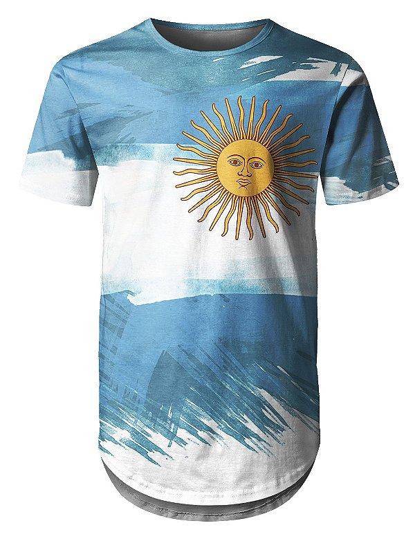 Camiseta Masculina Longline Bandeira Argentina Md01